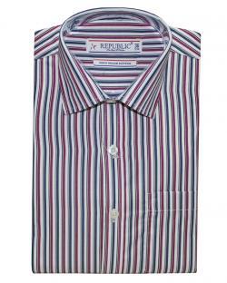 Republic Maroon & Blue Striped Shirt